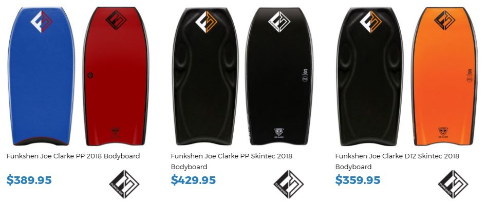 Joe Clarke new Funkshen Range 2018 Bodyboarding for sale at Inverted Bodyboard Shop