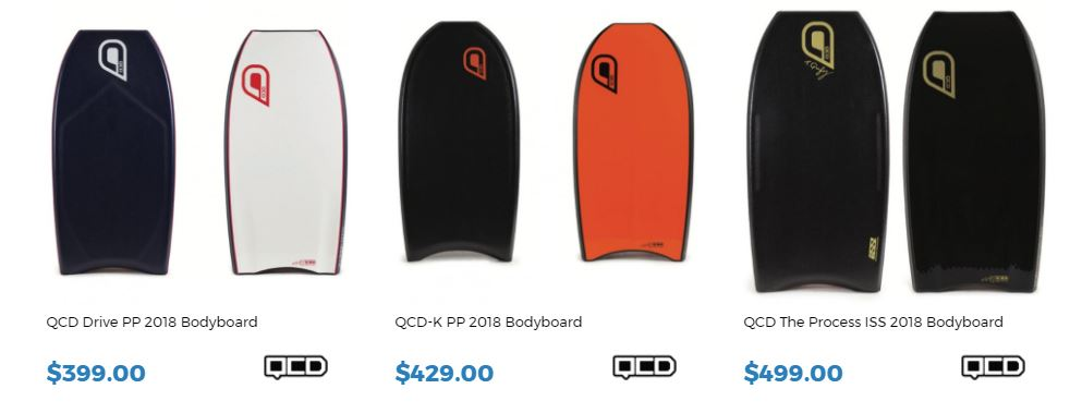QCD 2018 Range for sale at Inverted Bodyboard Shop
