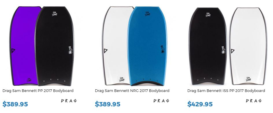 Sam Bennett bodyboards for sale at Inverted Bodyboard shop